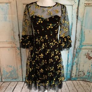 Embroidered illusion neckline floral tulle dress